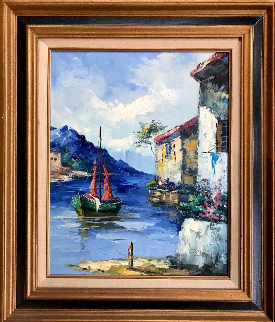 Mediterranean Seascape Harbor Painting,Giovanni Camprio