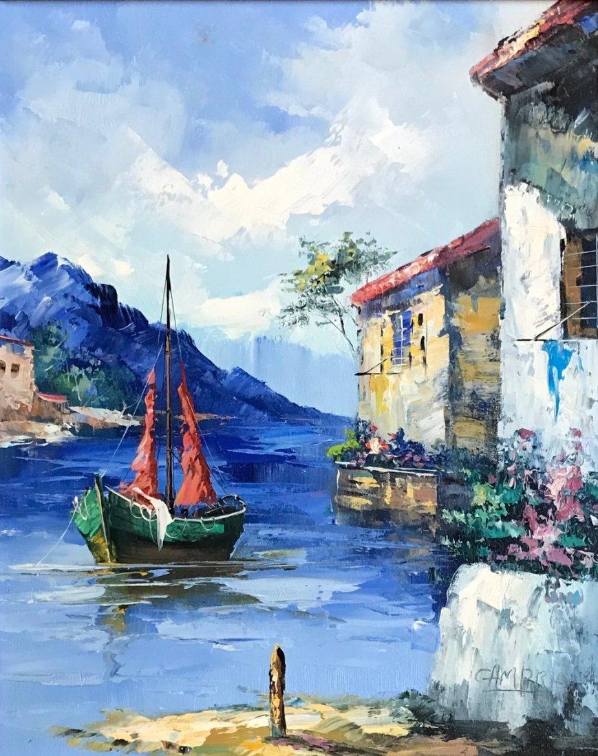 Mediterranean Seascape Harbor Painting,Giovanni Camprio - 3