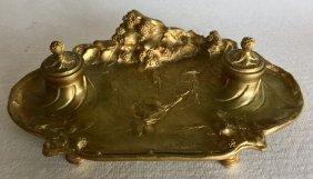 Albert Marionnet French Bronze Inkwell, Signed