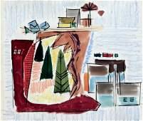Modernist Stage Set Design Painting, B.A. Aronson