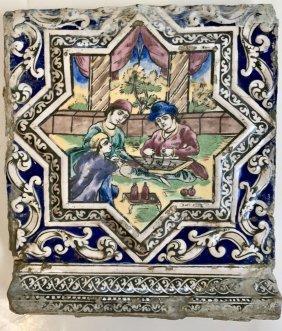 Persian Qajar Pictorial Faience Tile