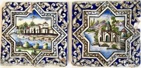 Persian Qajar Polychrome Tiles, Palace Landscape (2)