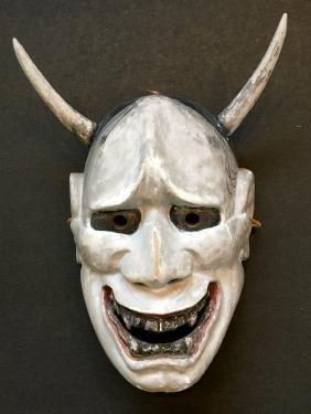 Japanese Carved Wood Noh Theater Mask, Devil Hannya