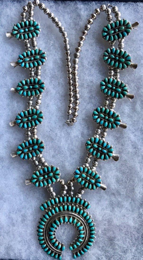Zuni Petit Point Squash Blossom Necklace