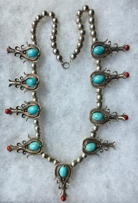 Zuni Sterling,Turquoise & Coral Squash Blossom Necklace