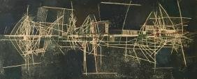 Mid-century Mexican Abstract Woodcut, Henriques
