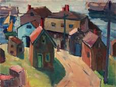 Gloucester Village Harbor Painting Harriette Landon