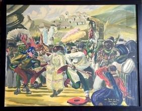 Jose Perea, Carnival De Ichu, Peru, Watercolor