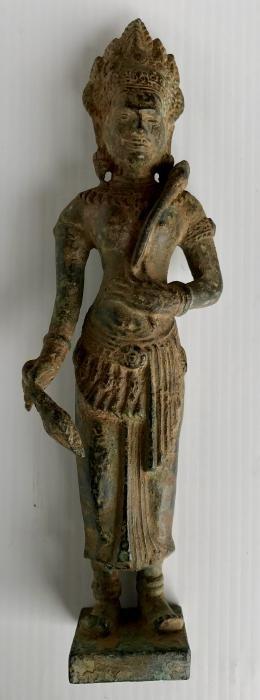 Cambodian Khmer Bronze Temple Deity Sculpture
