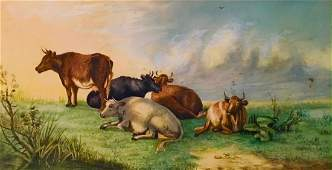 English School Pastoral Painting, Grazing Cows, 19th C.