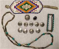 Native American Indian, Silver, Turquoise & Beadwork
