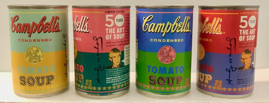 """Andy Warhol Campbell """"The Art of Soup"""" Cans"""
