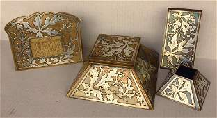Heintz Sterling Silver  Bronze Arts  Crafts Desk Set