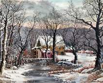 American Country Winter Landscape Painting E Longo