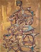 Mid-Century Abstract Figural Oil Painting, Bill Homm
