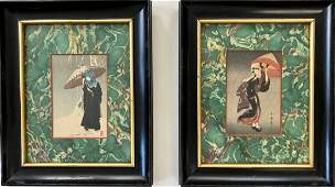 Two Japanese Ukiyoe Woodblocks Prints