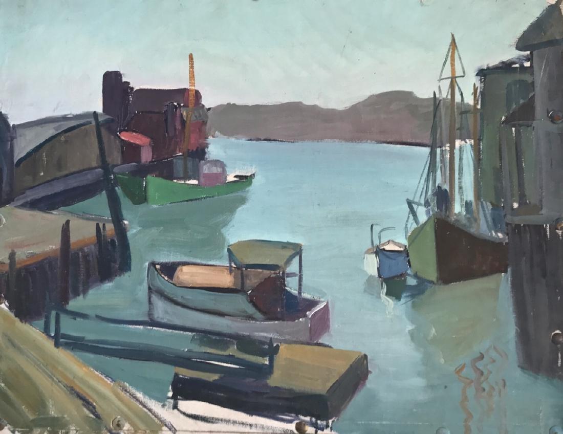 Gloucester Harbor Landscape Painting, H. Landon, 1950's