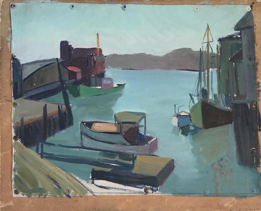 Gloucester Harbor Landscape Painting, H. Landon, 1950's - 3