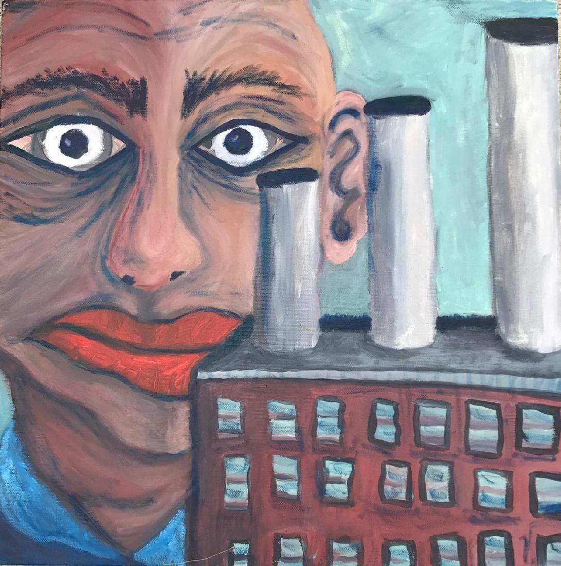 "Industrial Detroit Painting ""Smog"", Alexander Buzzalini"