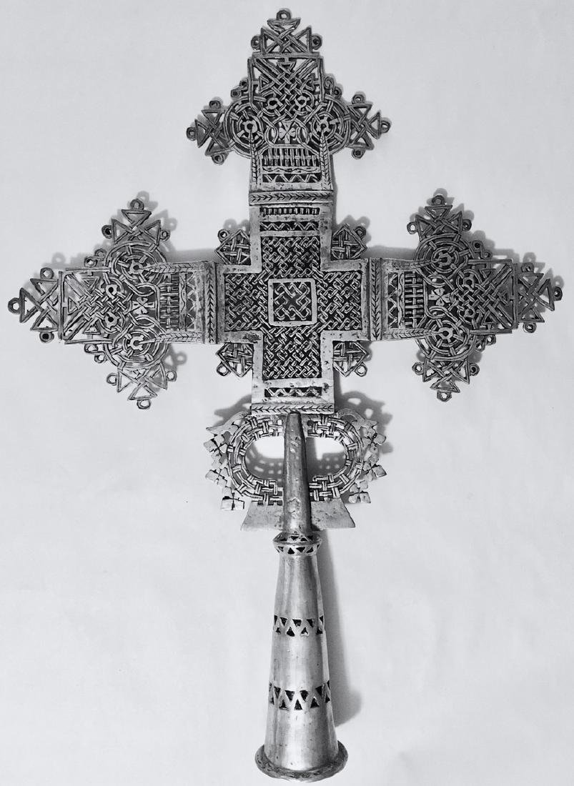 "Ethiopian Coptic Processional Cross, 20"" hgt."