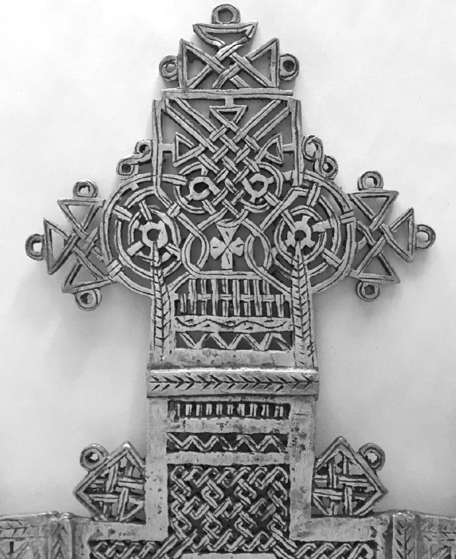 "Ethiopian Coptic Processional Cross, 20"" hgt. - 2"