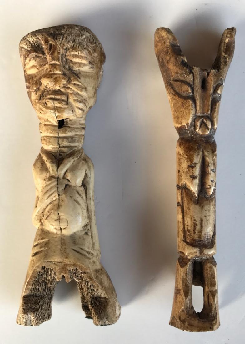 Early Primitive Figural Guardian Bone Carvings (2)