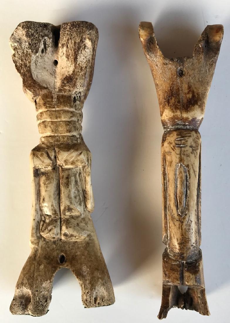 Early Primitive Figural Guardian Bone Carvings (2) - 2