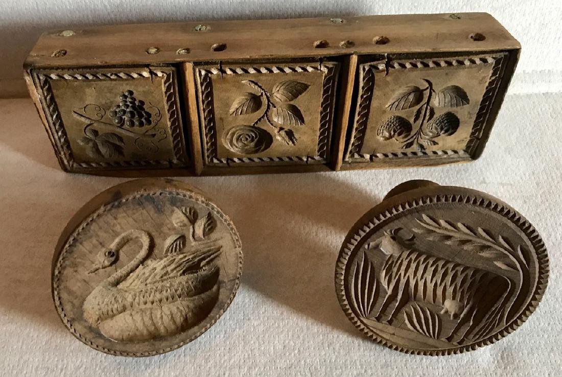 Wood Butter Molds, Cow,Swan,Floral,Grapes & Strawberry