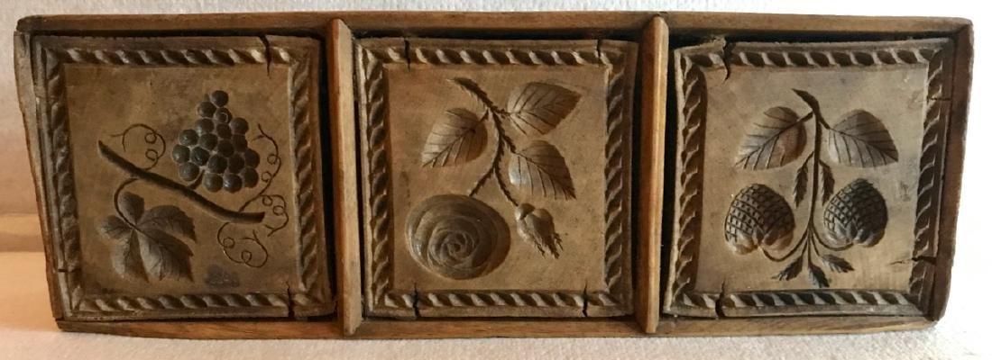Wood Butter Molds, Cow,Swan,Floral,Grapes & Strawberry - 4