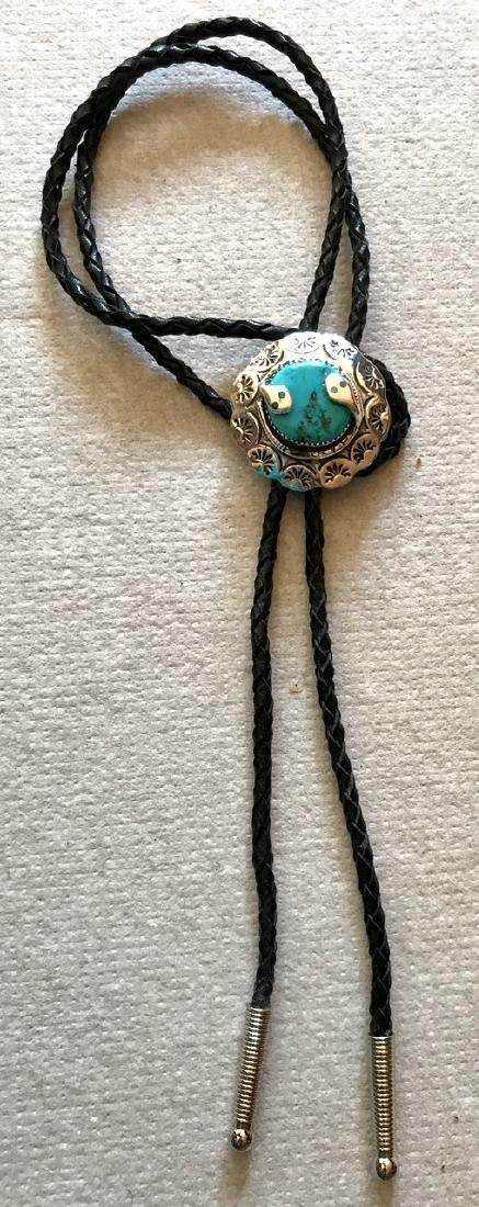 Zuni Silver & Turquoise Snake Bolo, Effie Calavaza - 3