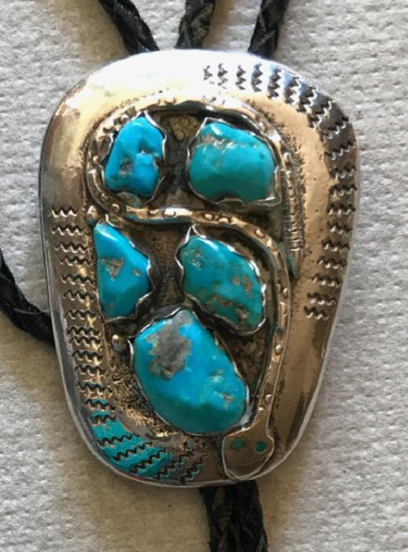 Zuni Effie Calavaza Sterling & Turquoise Snake Bolo - 2