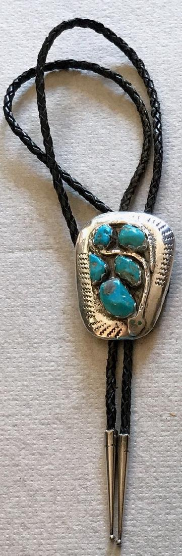 Zuni Effie Calavaza Sterling & Turquoise Snake Bolo - 4