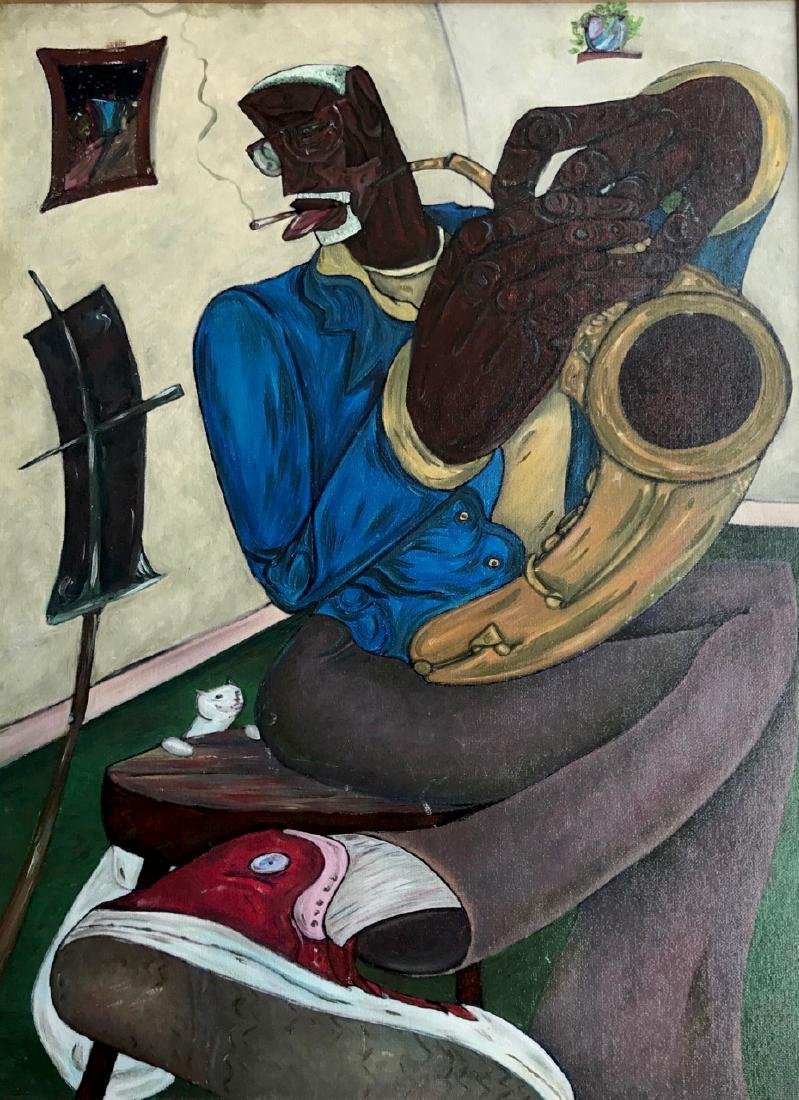 Modernist African-American Painting, Sax Man With Cat