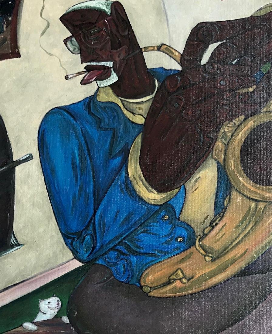 Modernist African-American Painting, Sax Man With Cat - 2