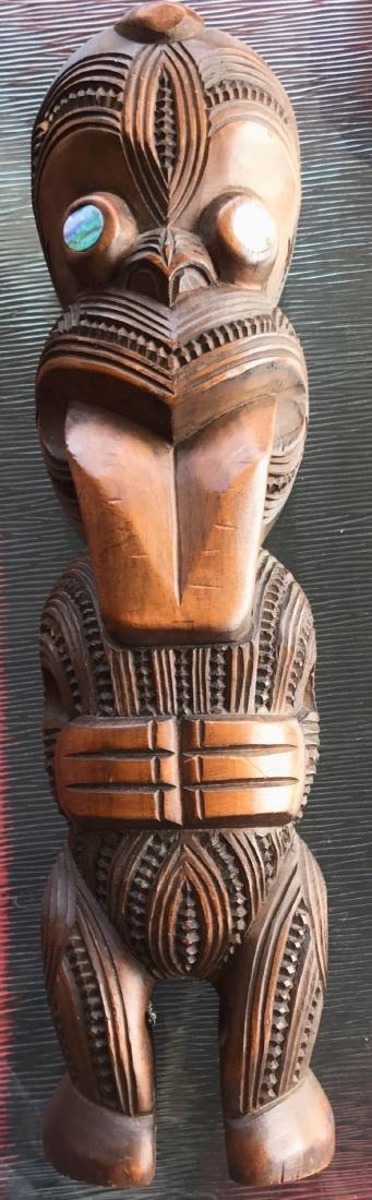 Maori Carved Wood Figural Tiki, New Zealand,1959