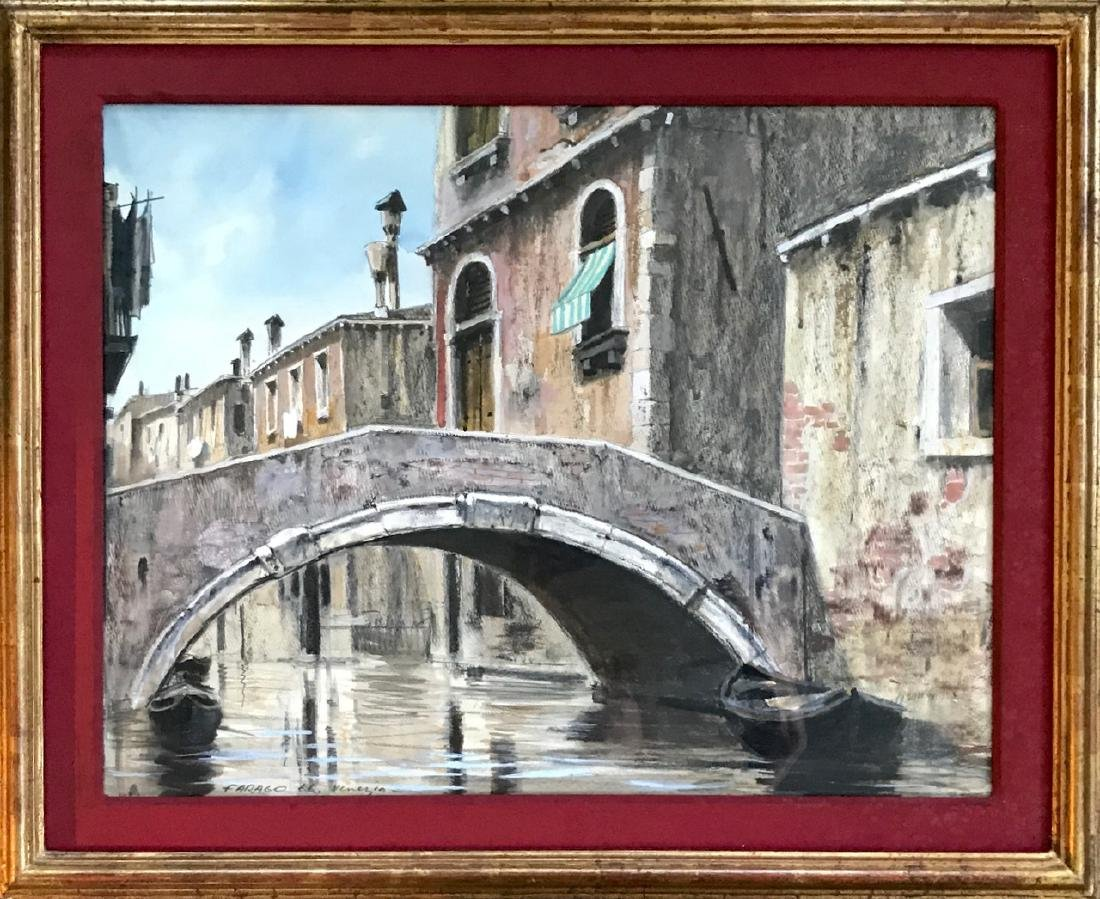 Venetian Canal Bridge Painting, Farago, 1966