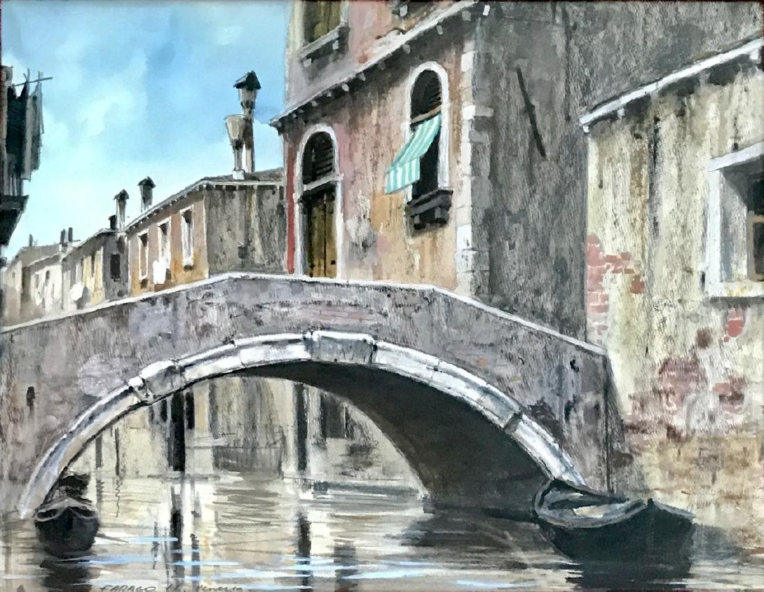Venetian Canal Bridge Painting, Farago, 1966 - 2