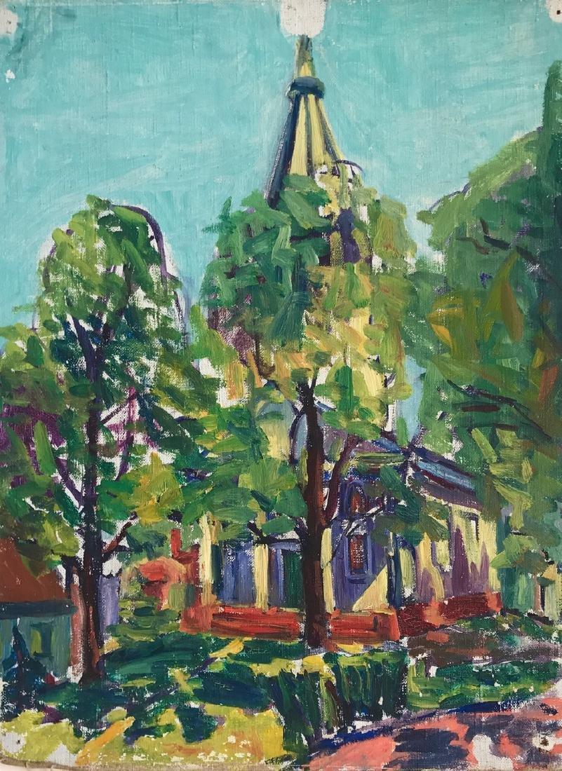 Gloucester Church Landscape Painting, H. Landon, 1950's