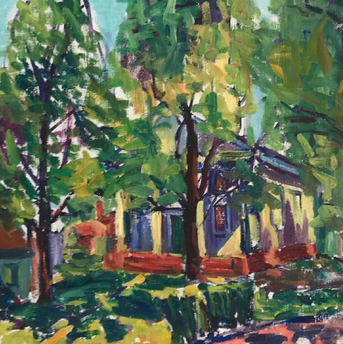 Gloucester Church Landscape Painting, H. Landon, 1950's - 2