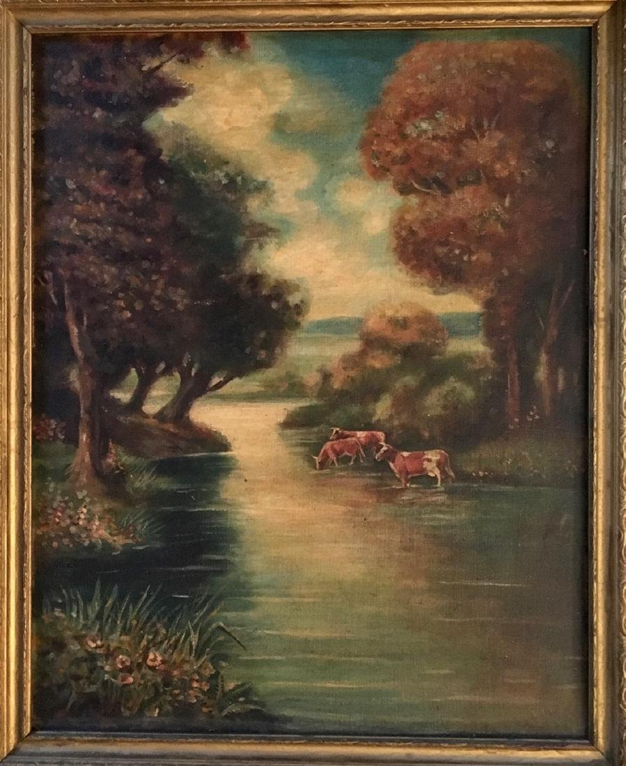 19th C. American River Landscape Painting With Cows