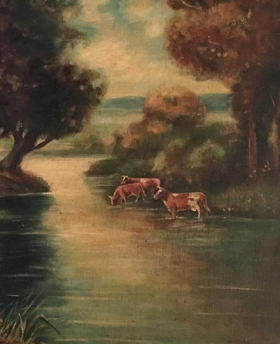 19th C. American River Landscape Painting With Cows - 2