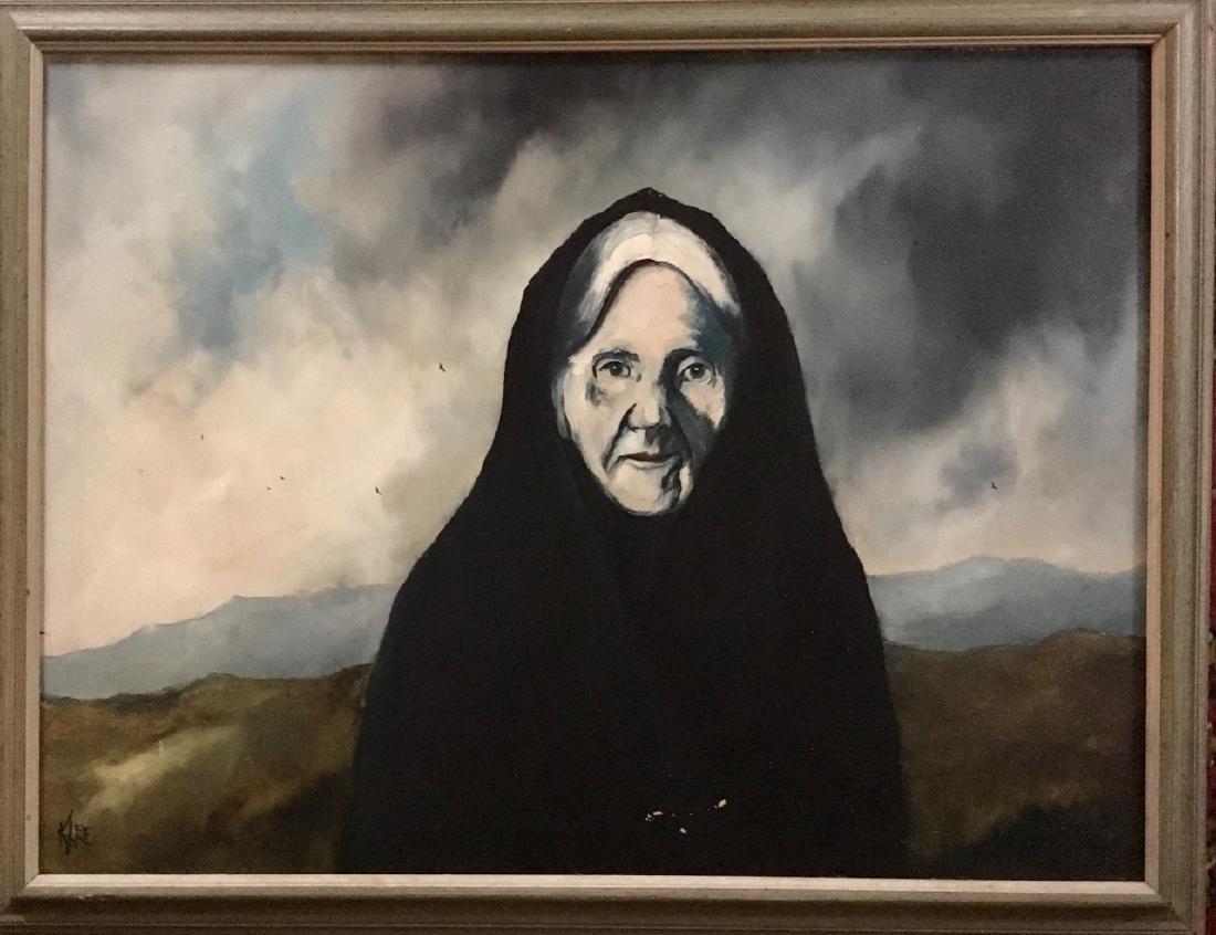 Mid-Century Landscape Painting, Nun On Retreat, Signed