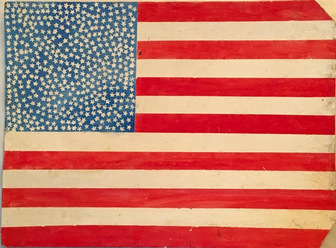 "Outsider Folk Painting ""American Flag"" On Found Board"