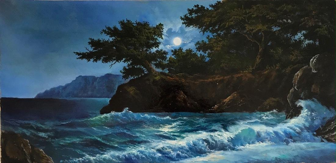 Russian Moonlight Seascape Painting On Board, Signed
