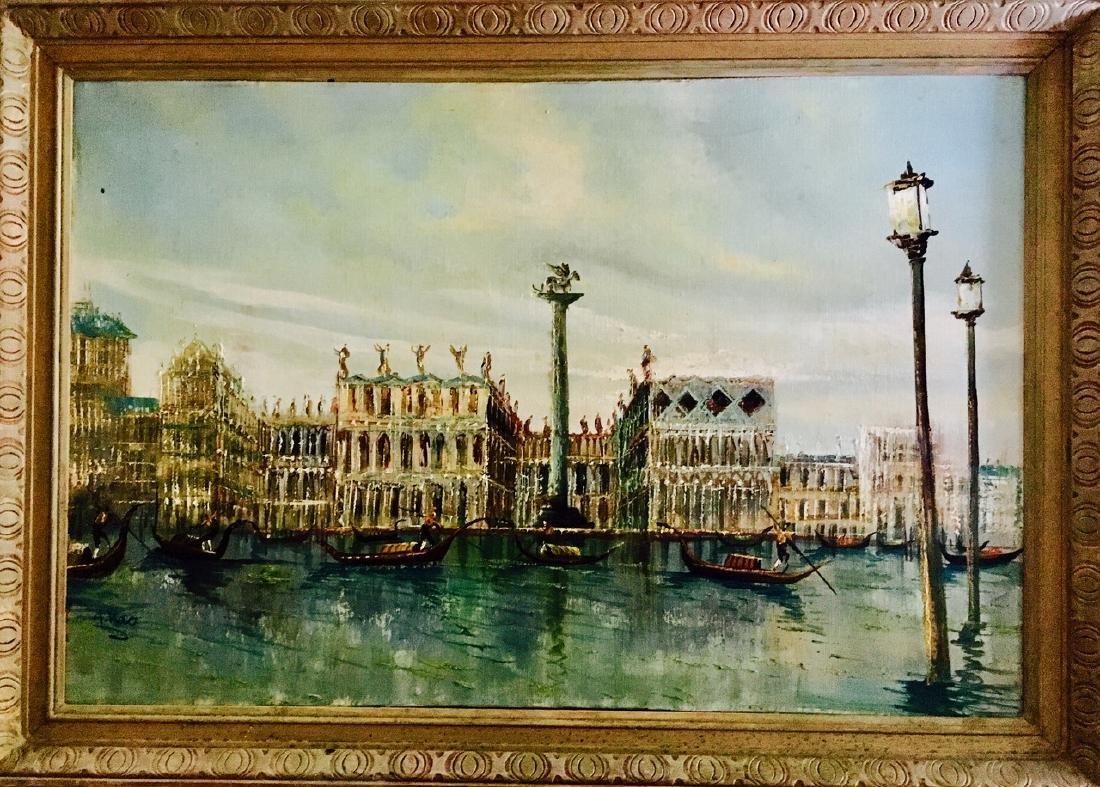 Piazza San Marco, Venetian Harbor Painting, A. Rao