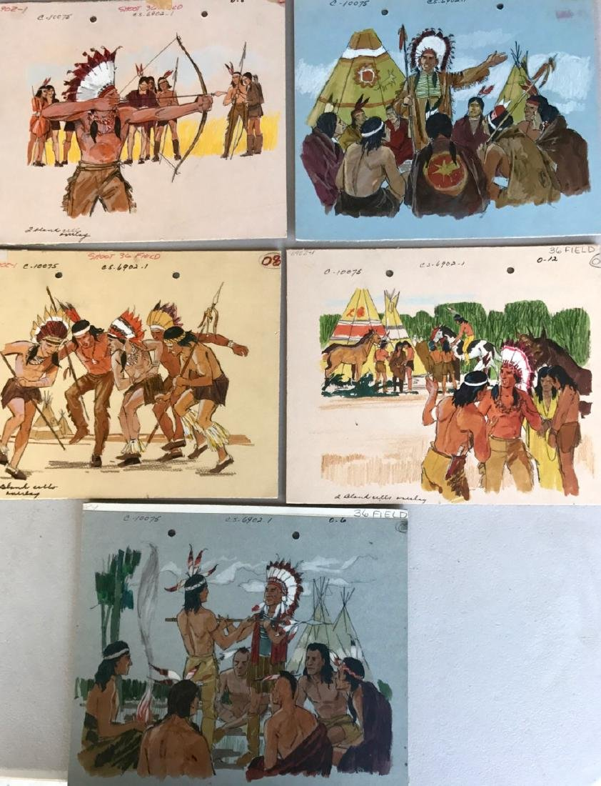 (5) Native American Original Book Illustrations, 1950's