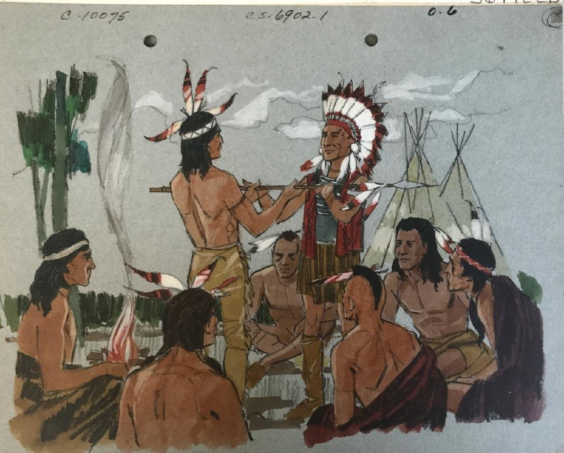 (5) Native American Original Book Illustrations, 1950's - 2