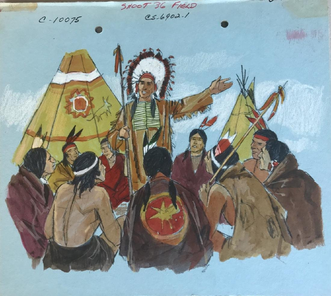 (5) Native American Original Book Illustrations, 1950's - 5
