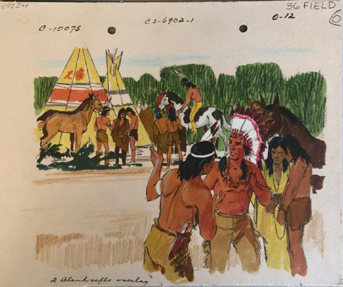 (5) Native American Original Book Illustrations, 1950's - 6