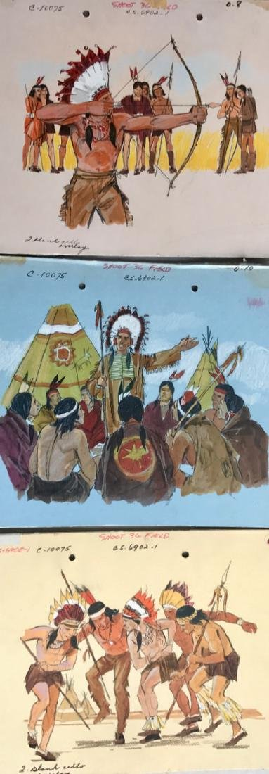(5) Native American Original Book Illustrations, 1950's - 7